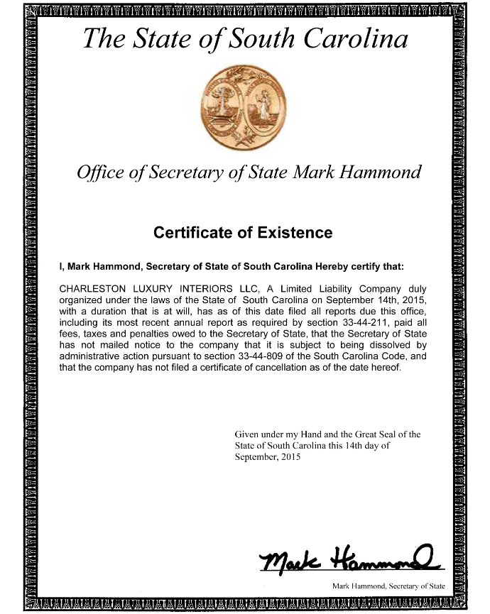 Certificate Of Existence