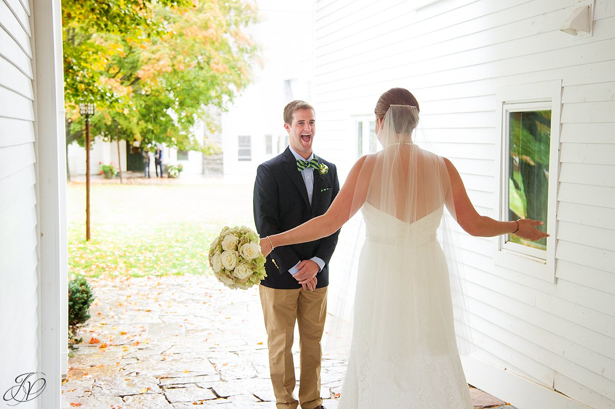 fun first look moment between bride and groom