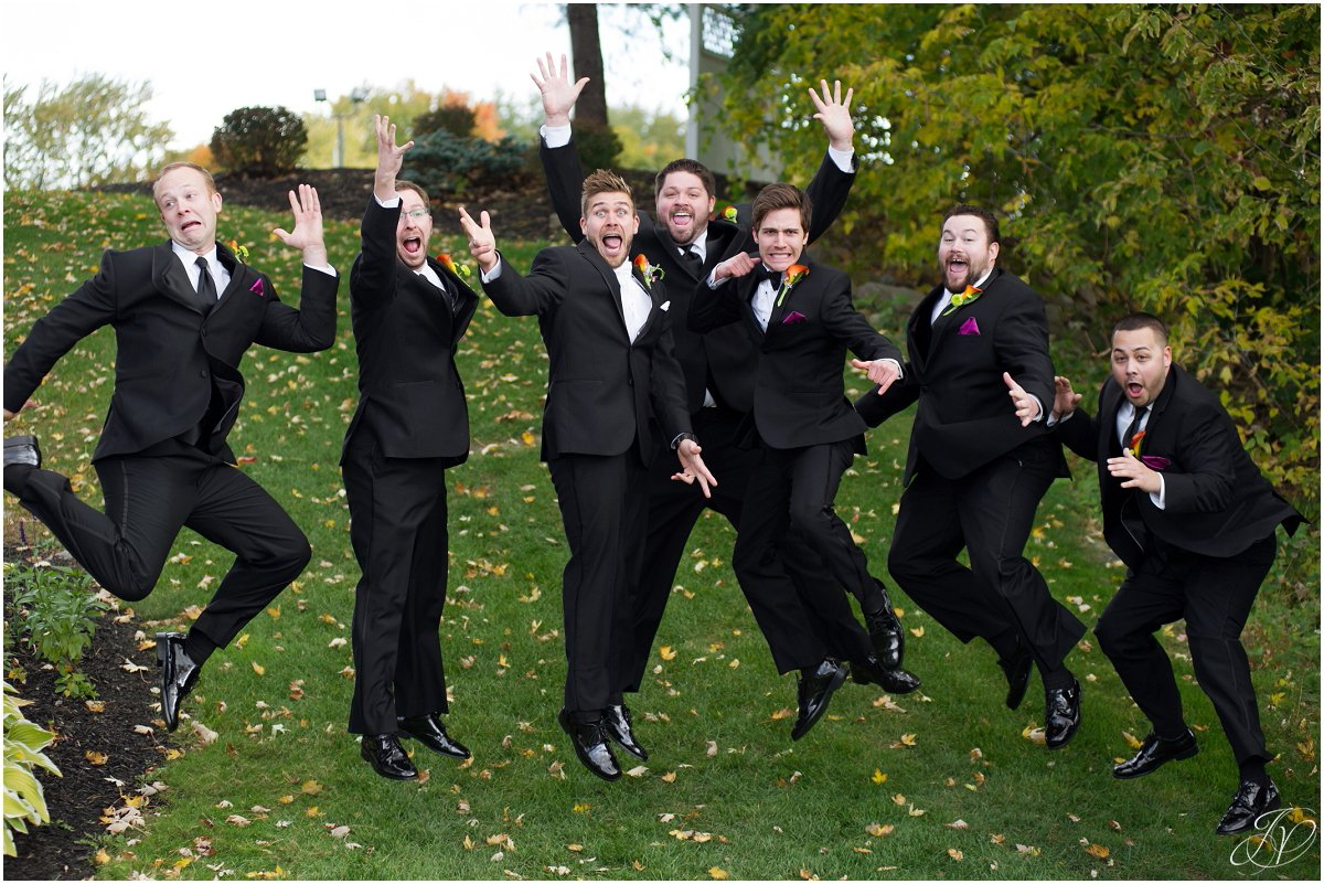 silly groomsmen portrait glen sanders mansion wedding