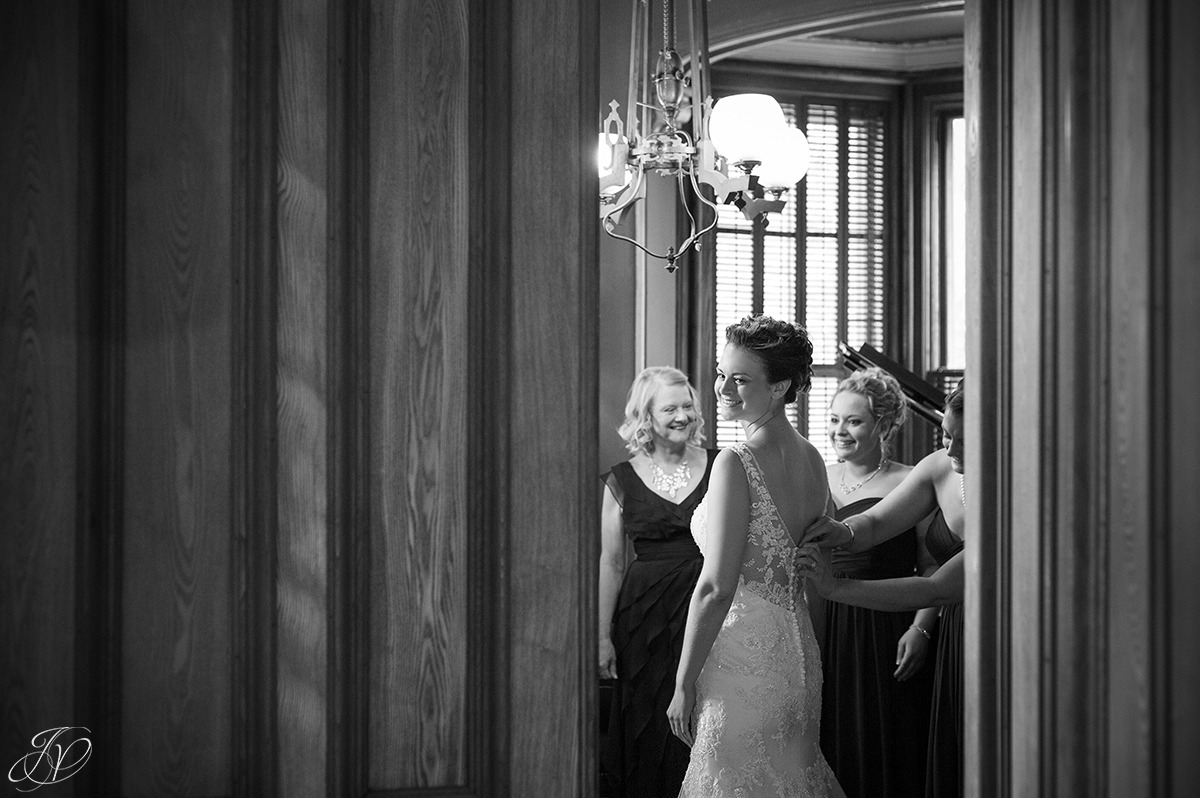 intimate view of bride getting ready