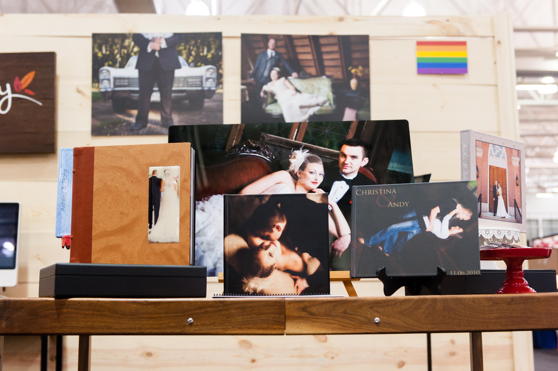 Firelily Photography Madison, WI 2017 Winter Bridal Show Booth | Beautiful custom wedding album display