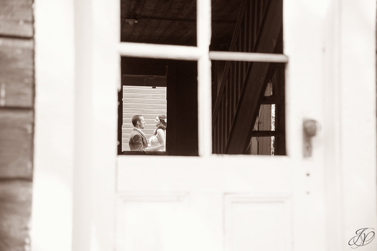 unique photo angle of bride and groom
