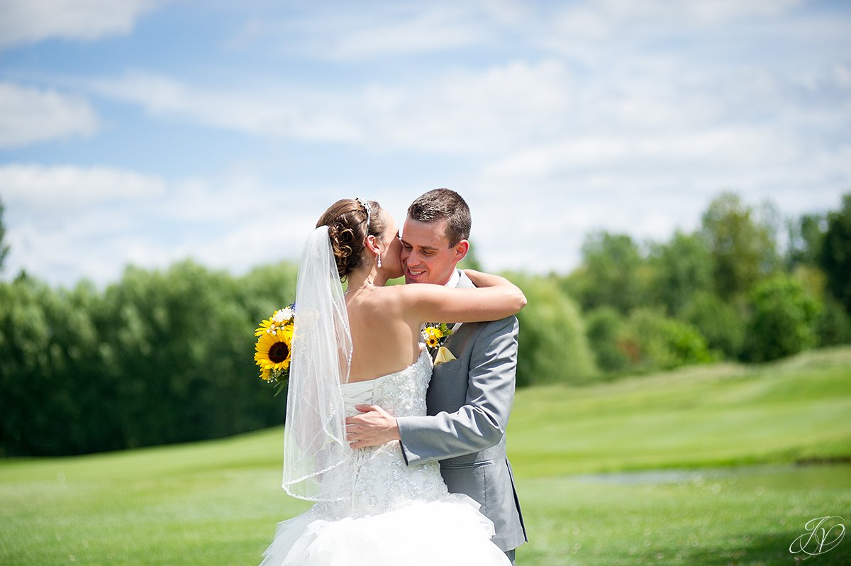 bride and groom first look at Timberlodge at Arrowhead Golf Club