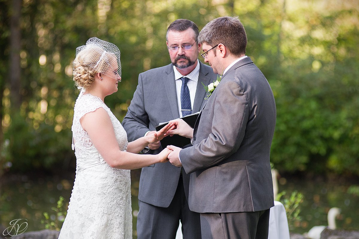 beautiful photo of bride and groom exchanging rings