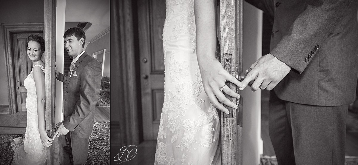 emotional photo of bride and groom on opposite sides of a door