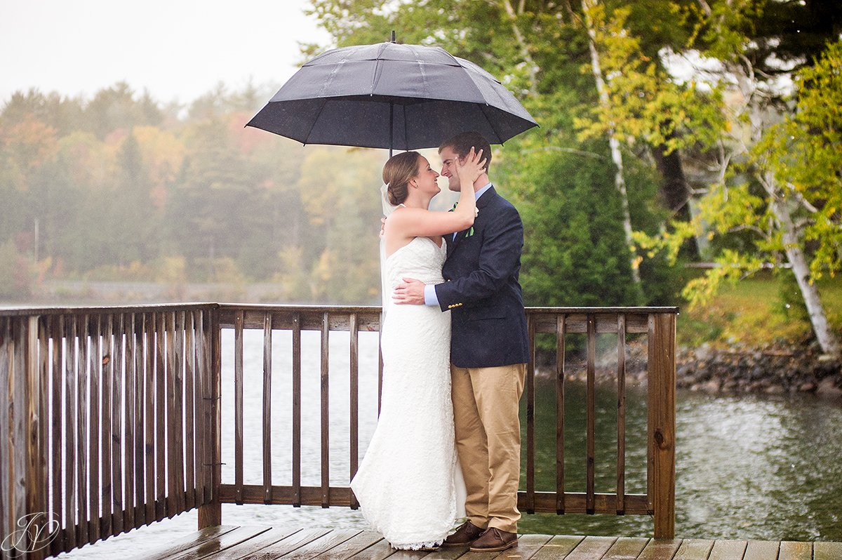sweet photo of bride and groom in the rain