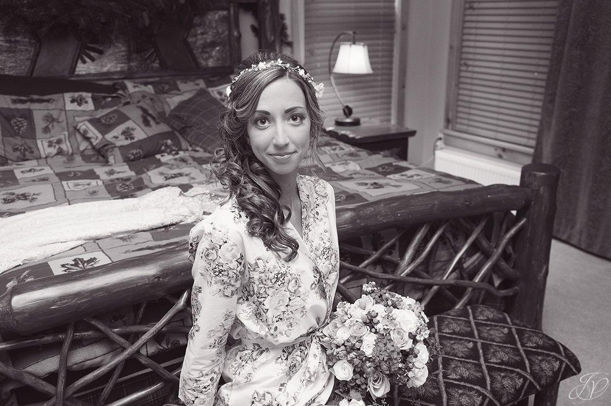 bridal portrait in getting ready robe rustic bridal portrait