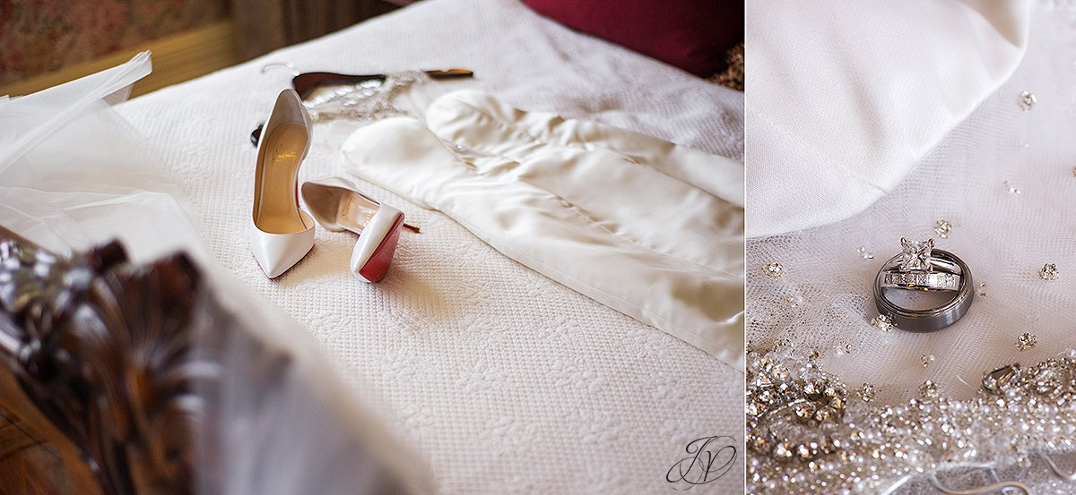 Ines Di Santo Bridal Gown, white wedding shoes