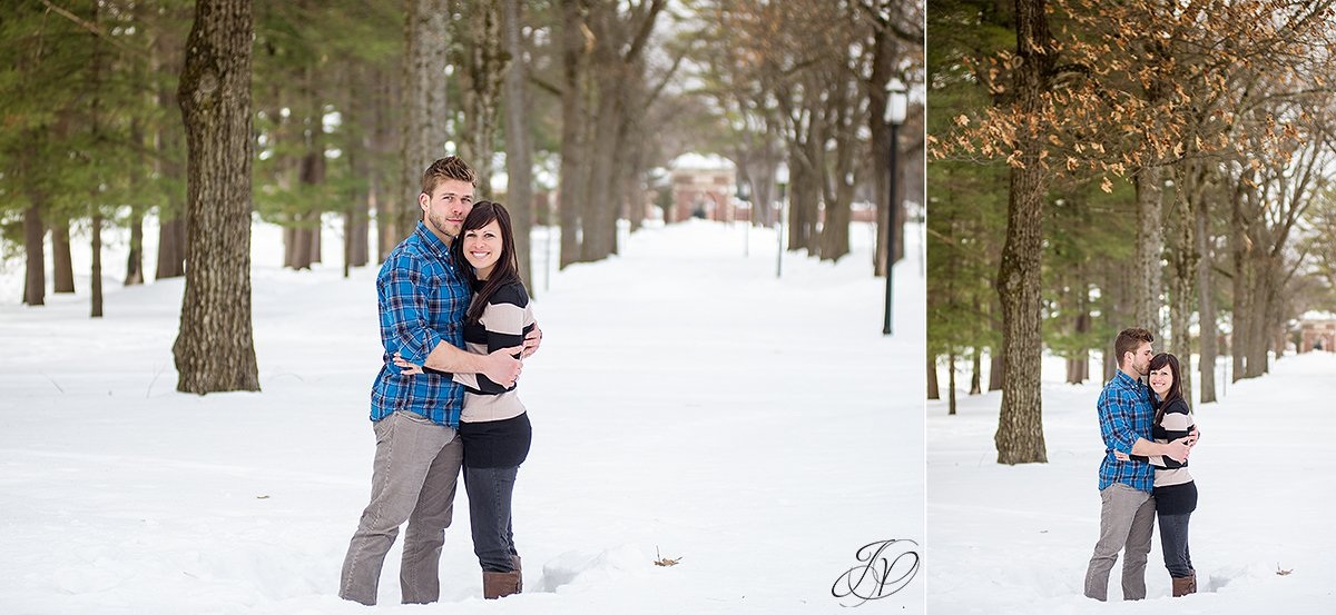 romantic photo of engaged couple in the snow