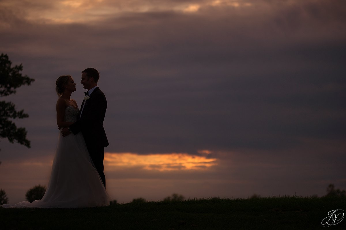 sunset bride and groom saratoga national silhouette