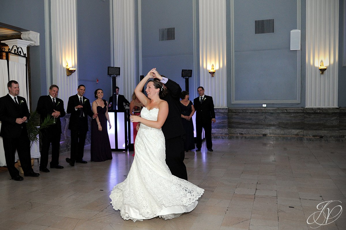 first dance at key hall, first dance photo, Key Hall Proctors reception, Schenectady Wedding Photographer