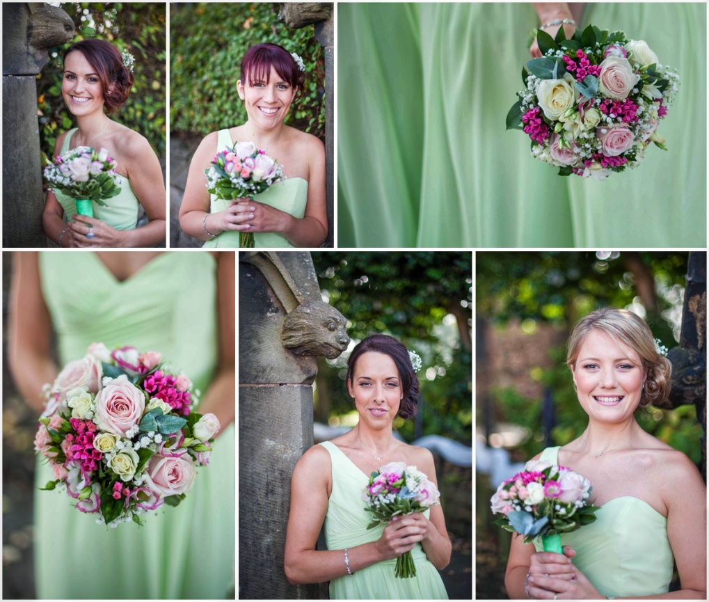 green bridesmaid dresses and maid detail