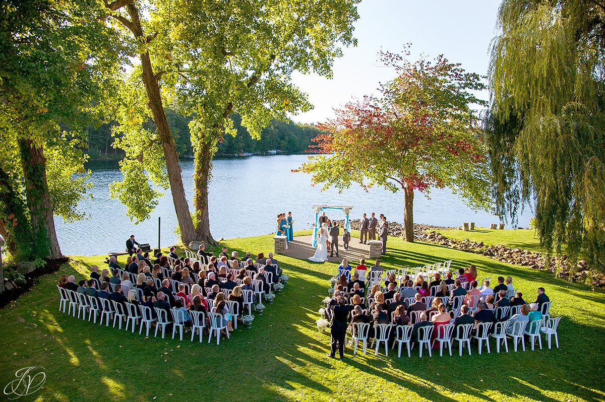aerial view of ceremony on lake