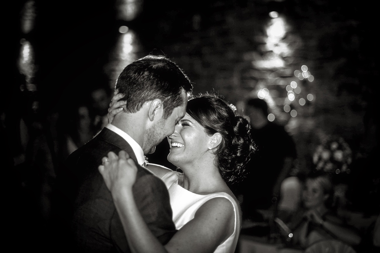 classic shot of first dance in b&w