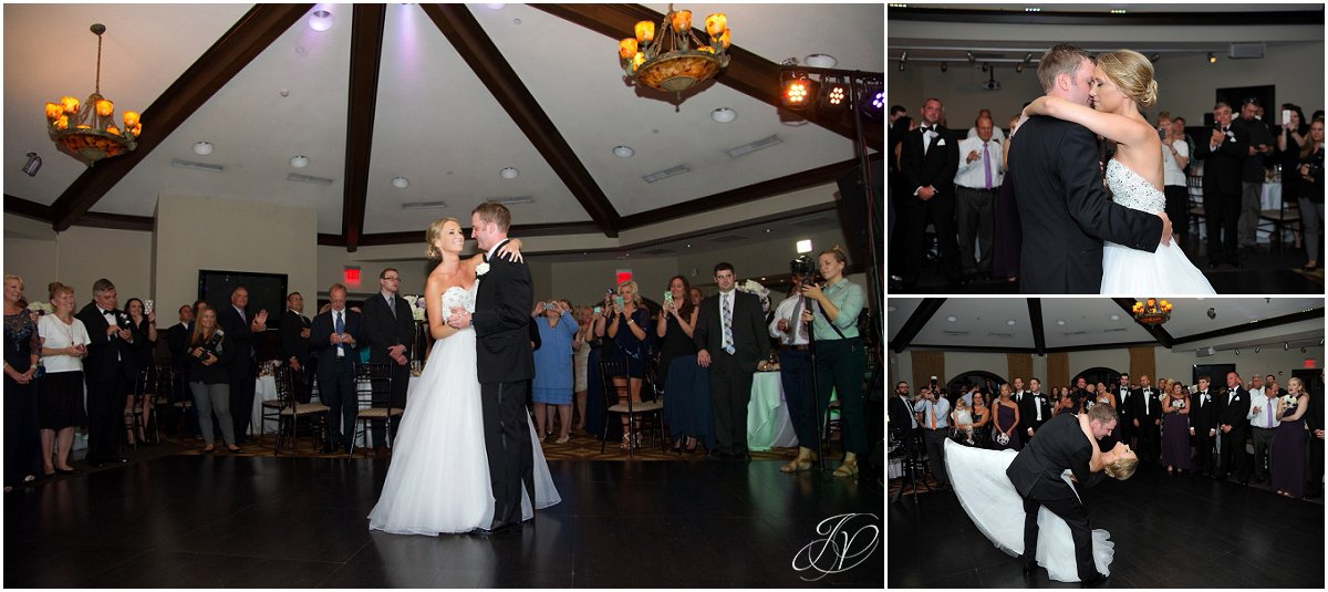bride and groom first dance at reception saratoga national