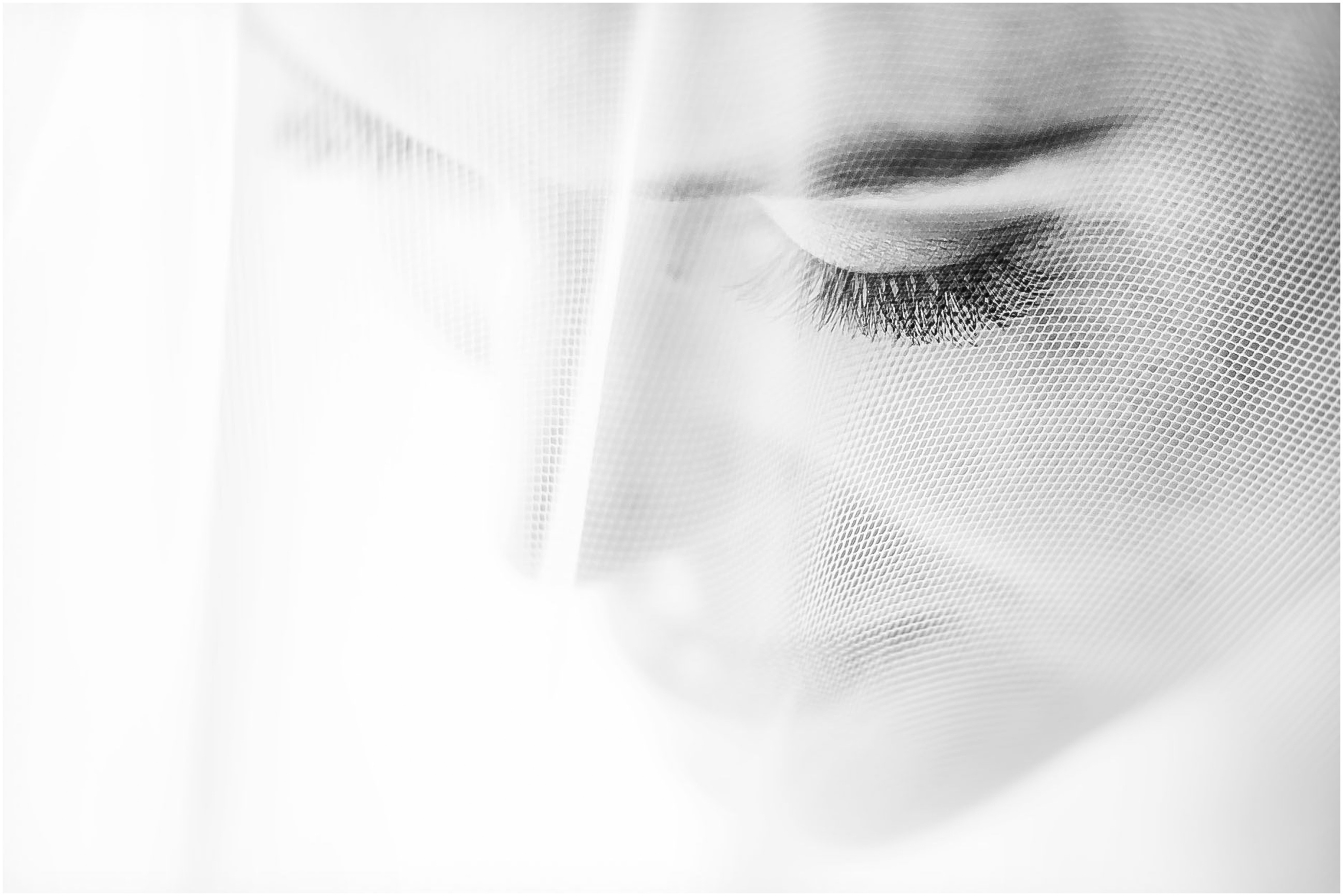 black and white image of a brides face