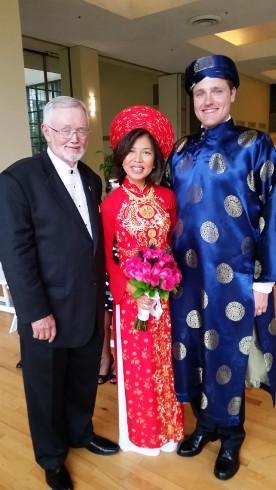 Ceremony dress for Dallas Vietnamese Wedding, photo Rev Paul