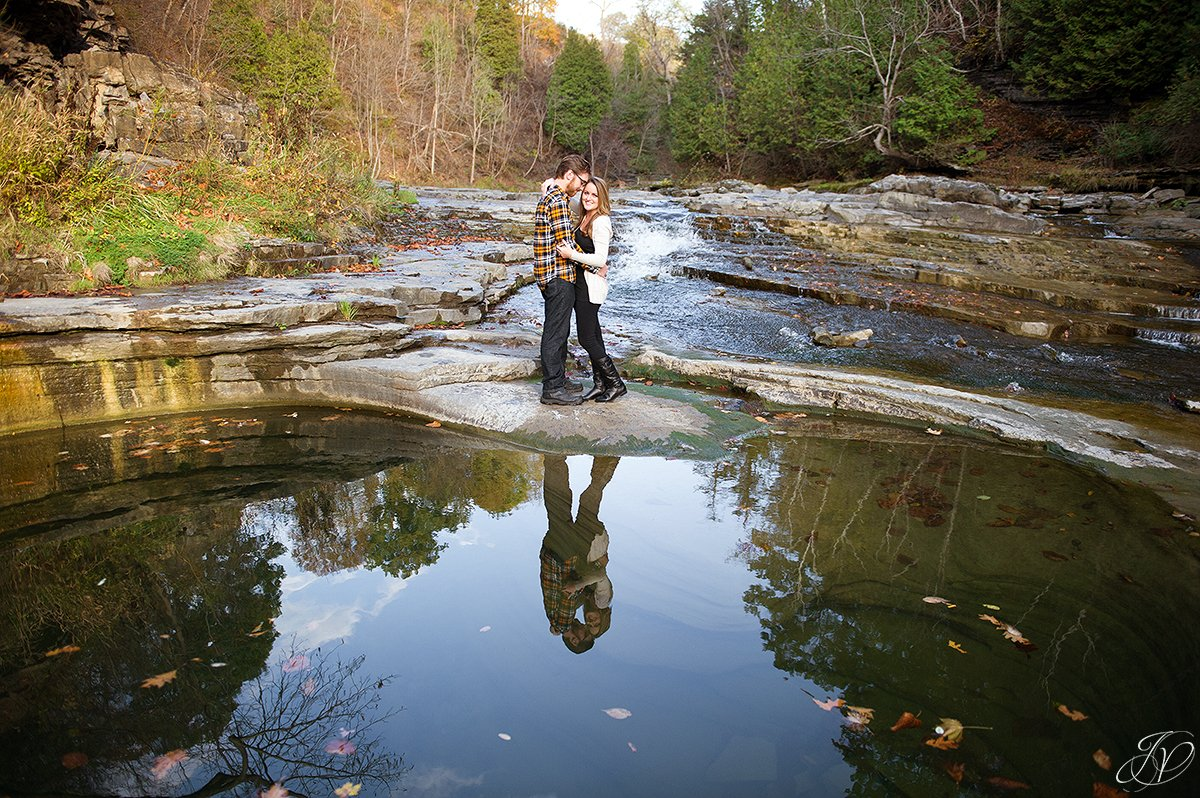 romantic fall engagement pictures water reflection