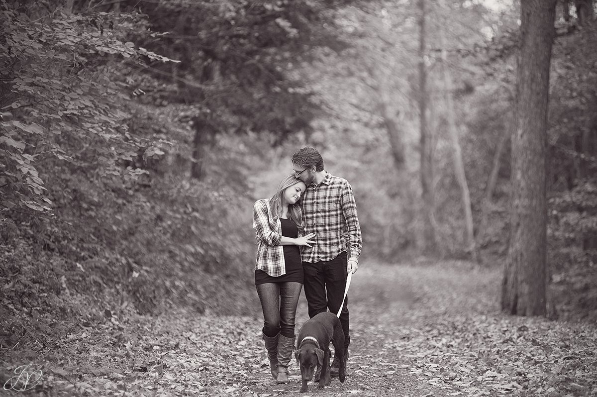 romantic fall engagement pictures with dog black and white
