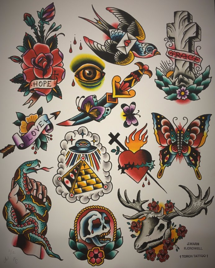 SOLD OUT! Split Flash Sheet - Torch Tattoo